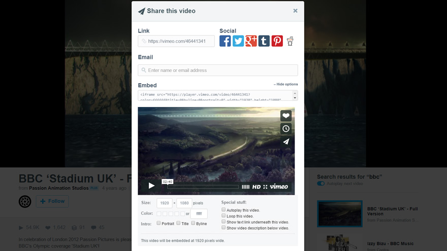 vimeo share options